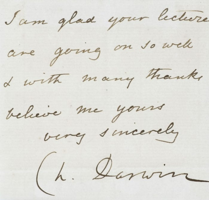 Charles Darwin Autographed Note Signed.