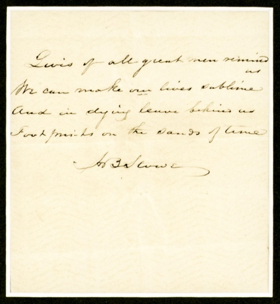 Harriet Beecher Stowe Signed Quote.