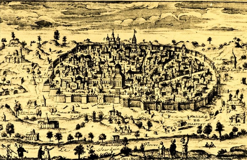 18th Century Map of the Holy City of Jerusalem.