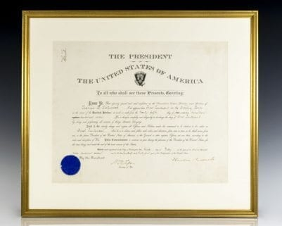 Theodore Roosevelt Signed and William Howard Taft Signed Appointment.