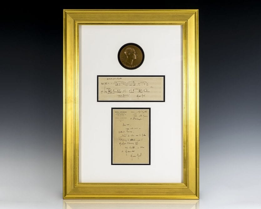 Maurice Ravel Autographed Signed Letter and Signed Musical Quotation.