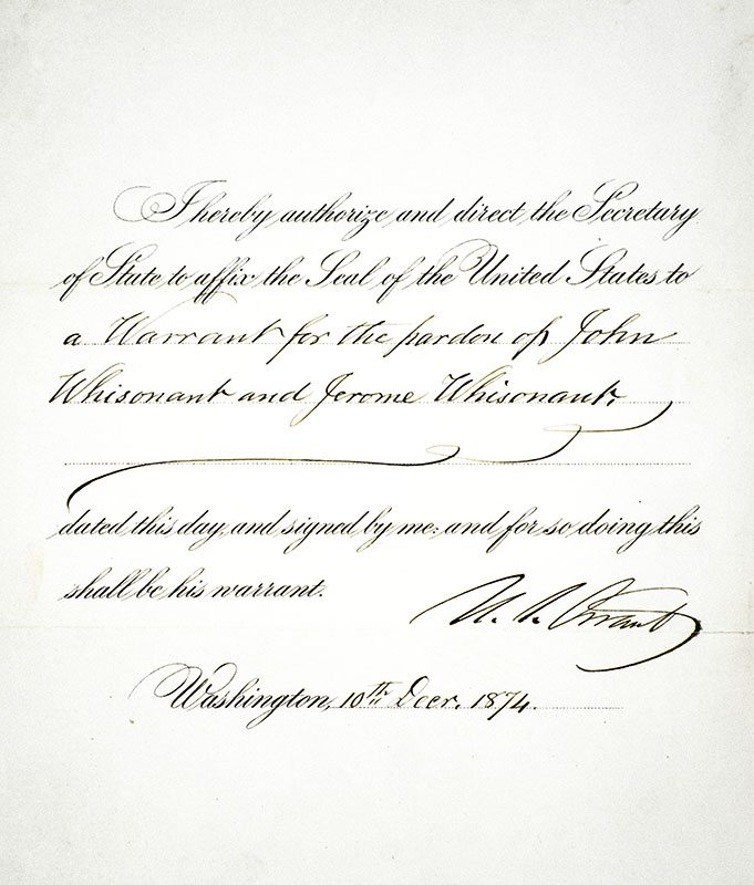 collection of documents signed by president grant and eight members of his presidential administration