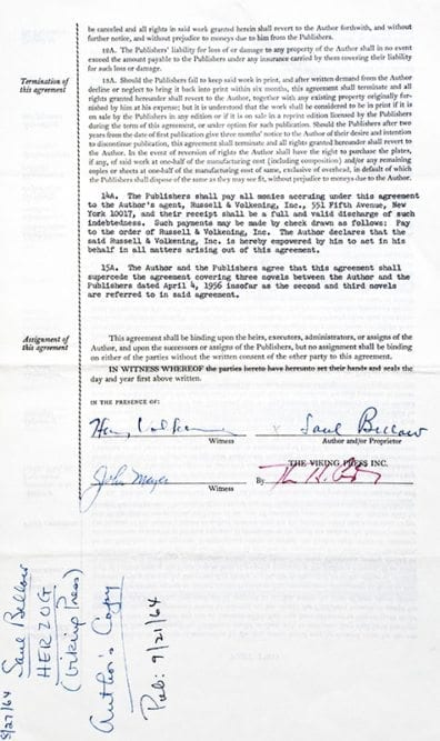 Saul Bellow Signed Novel Contracts.