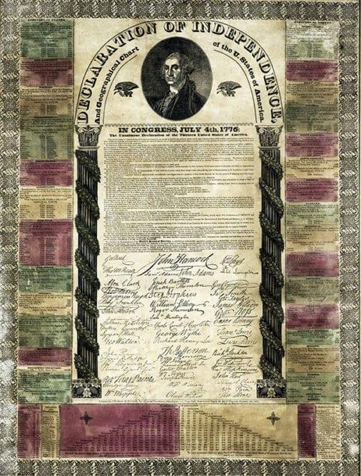Jacksonian Era Broadside of the Declaration of Independence.