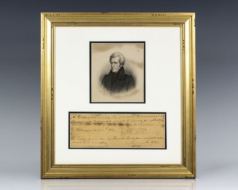 Andrew Jackson Autographed Document Signed.