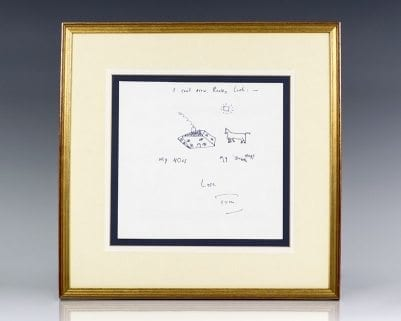 Tom Stoppard Original Signed Drawing.