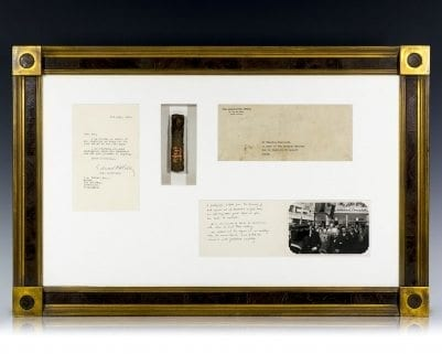 Winston Churchill Partially-Smoked Cuban Cigar with a Signed Original Photograph.