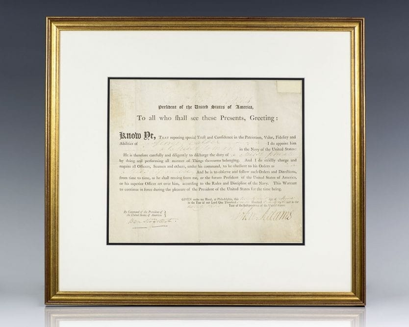 John Adams Signed Document.