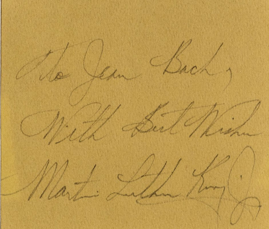 Martin Luther King, Jr. Signed Notecard.