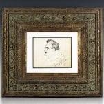 Enrico Caruso Original Self-Portrait Signed Sketch.