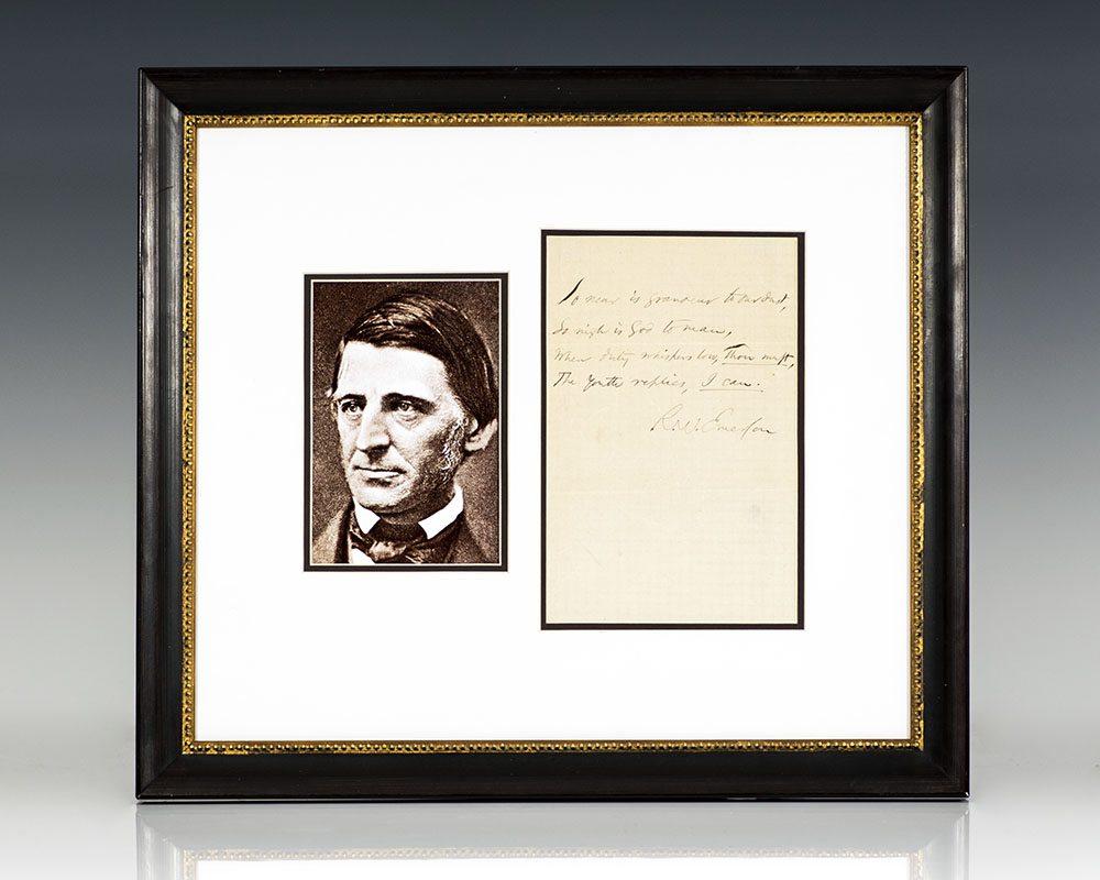 Ralph Waldo Emerson Autographed Quotation Signed.