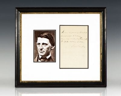 Ralph Waldo Emerson Autographed Quotation Signed.