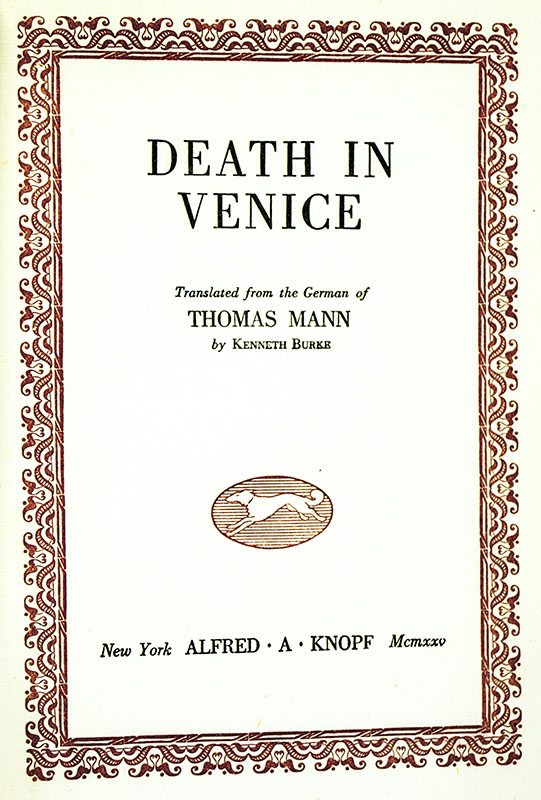 Death In Venice Thomas Mann First Edition Signed