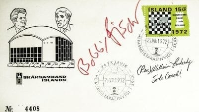 Bobby Fischer and William Lombardy Autographed First Day Cover.