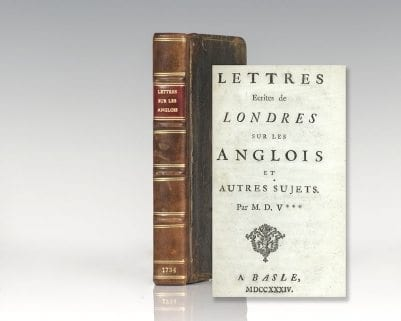 Lettres Ecrites De Londres Sur Les Anglois, Et Autres Sujets (Letters Written in London Concerning the English Nation).