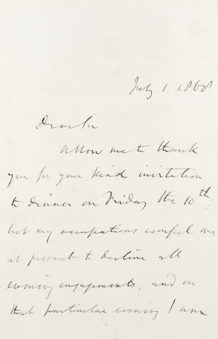 John Stuart Mill Autographed Letter Signed.
