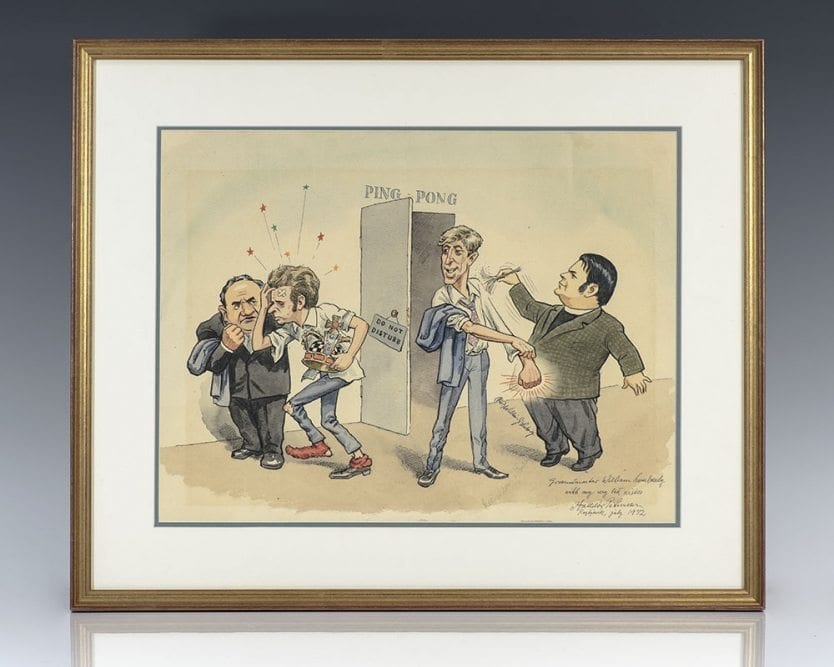 Original Halldor Petursson Watercolor Caricature of Bobby Fischer, Boris Spassky and William Lombardy.