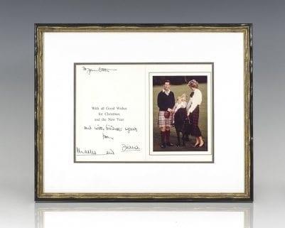 Princess Diana and Prince Charles Signed Christmas Card.