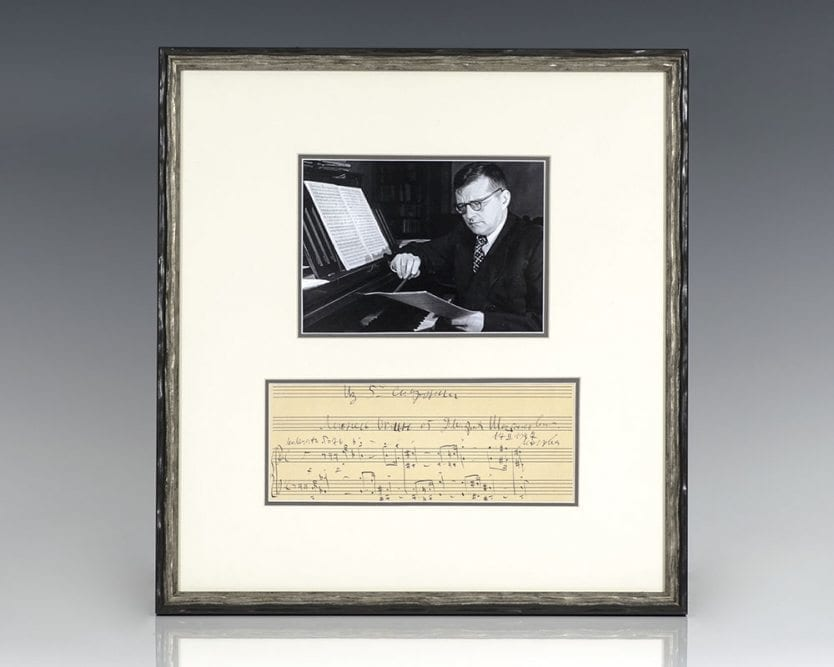 Dmitri Shostakovich Autograph Musical Quotation Signed.