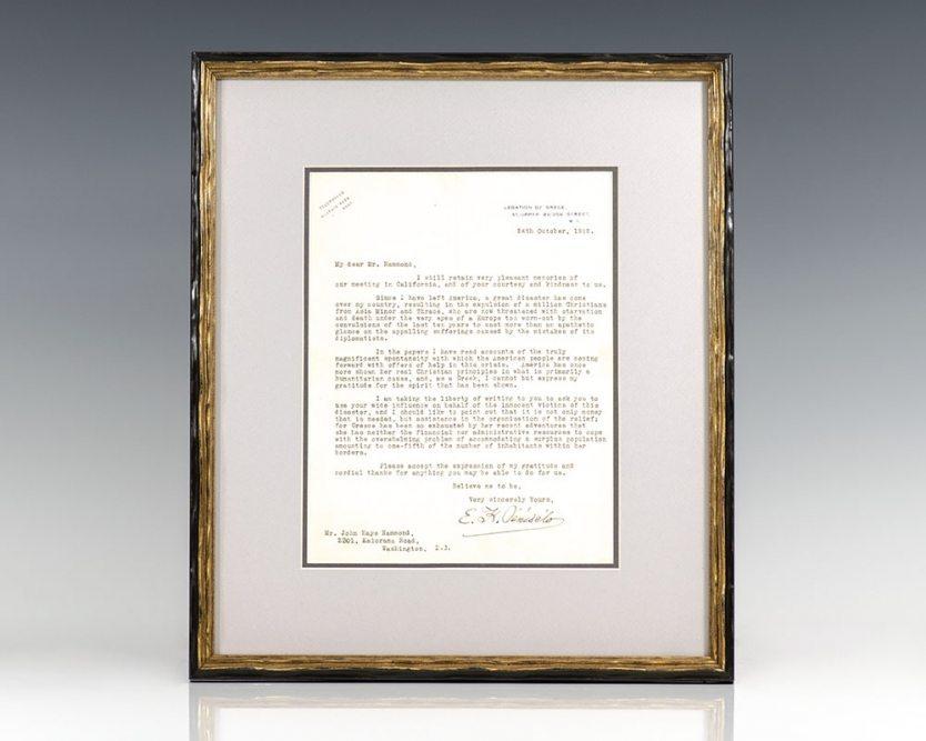 Eleftherios Venizelos Autograph Letter Signed.