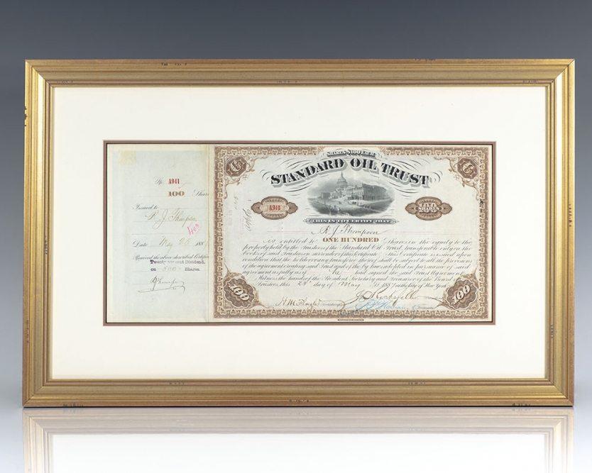 Standard Oil Trust Stock Certificate Signed by John D. Rockefeller and Henry M. Flagler.