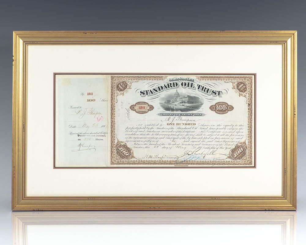 Standard Oil Trust Stock Certificate Signed by John D. Rockefeller and Henry M. Flagler.