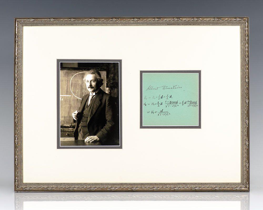 Albert Einstein Autographed Signed Equation.