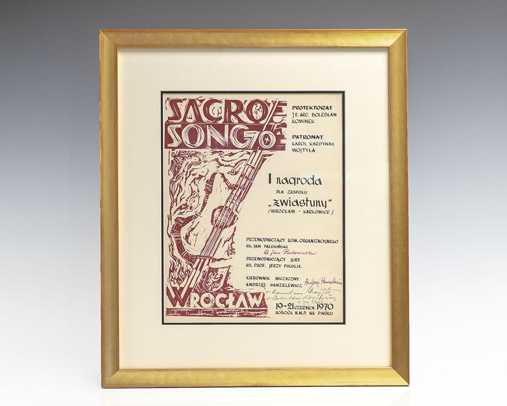 Pope John Paul II Autograph Sacrosong Diploma Signed.