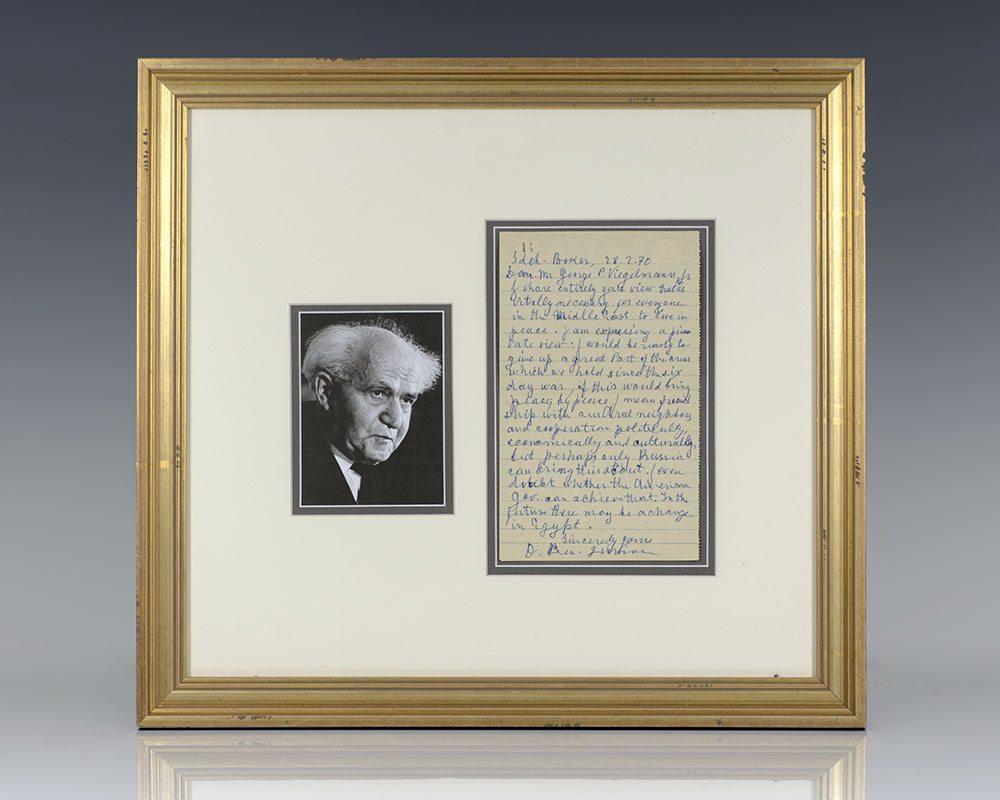 David Ben-Gurion Autographed Letter Signed.