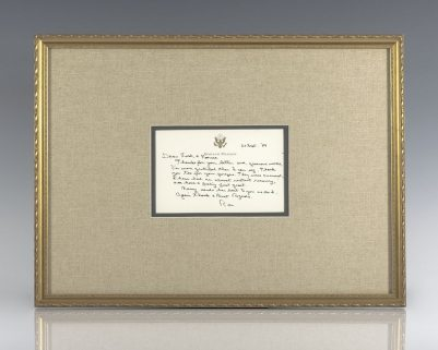 Ronald Reagan Autographed Note Signed.