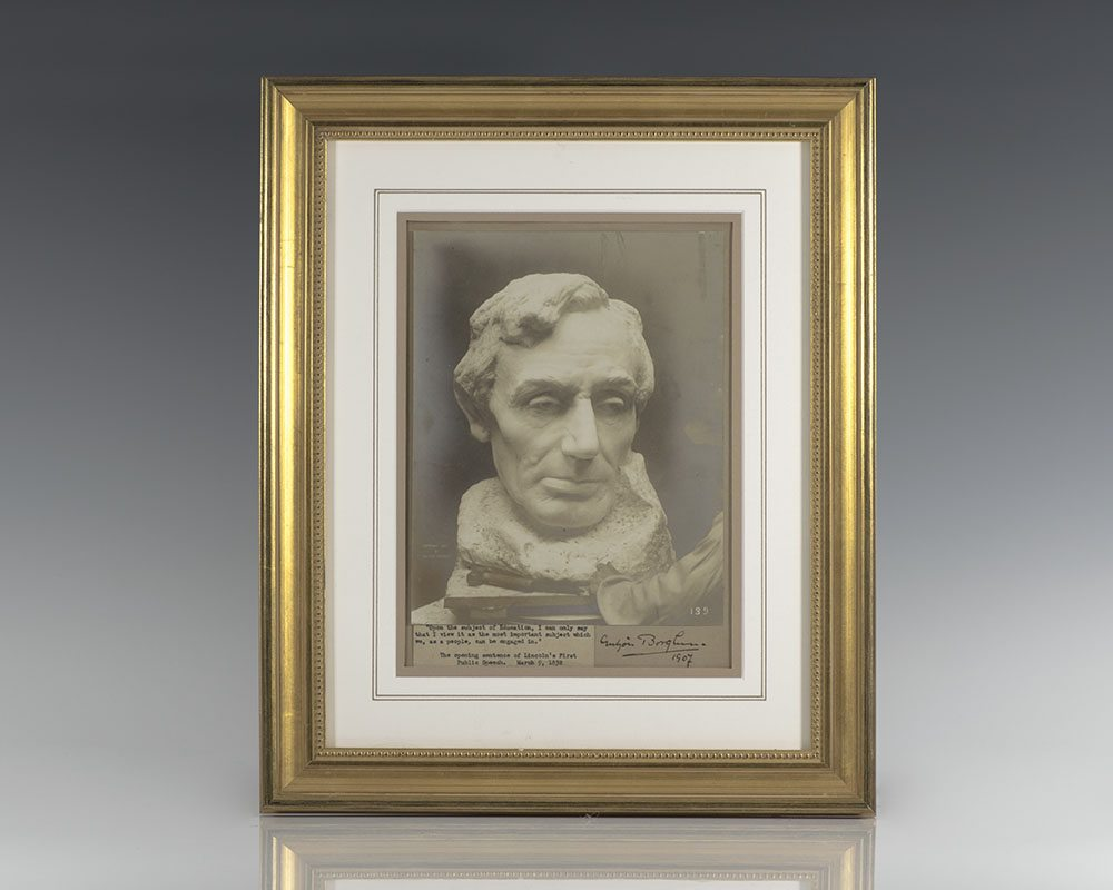 Gutzon Borglum Signed Photograph of a Bust of Abraham Lincoln.