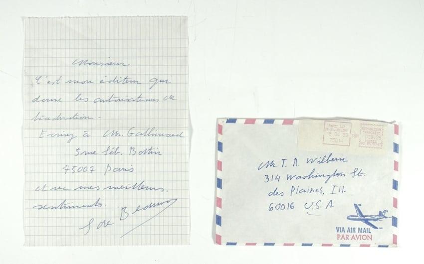 Simone de Beauvoir Autographed Letter Signed.