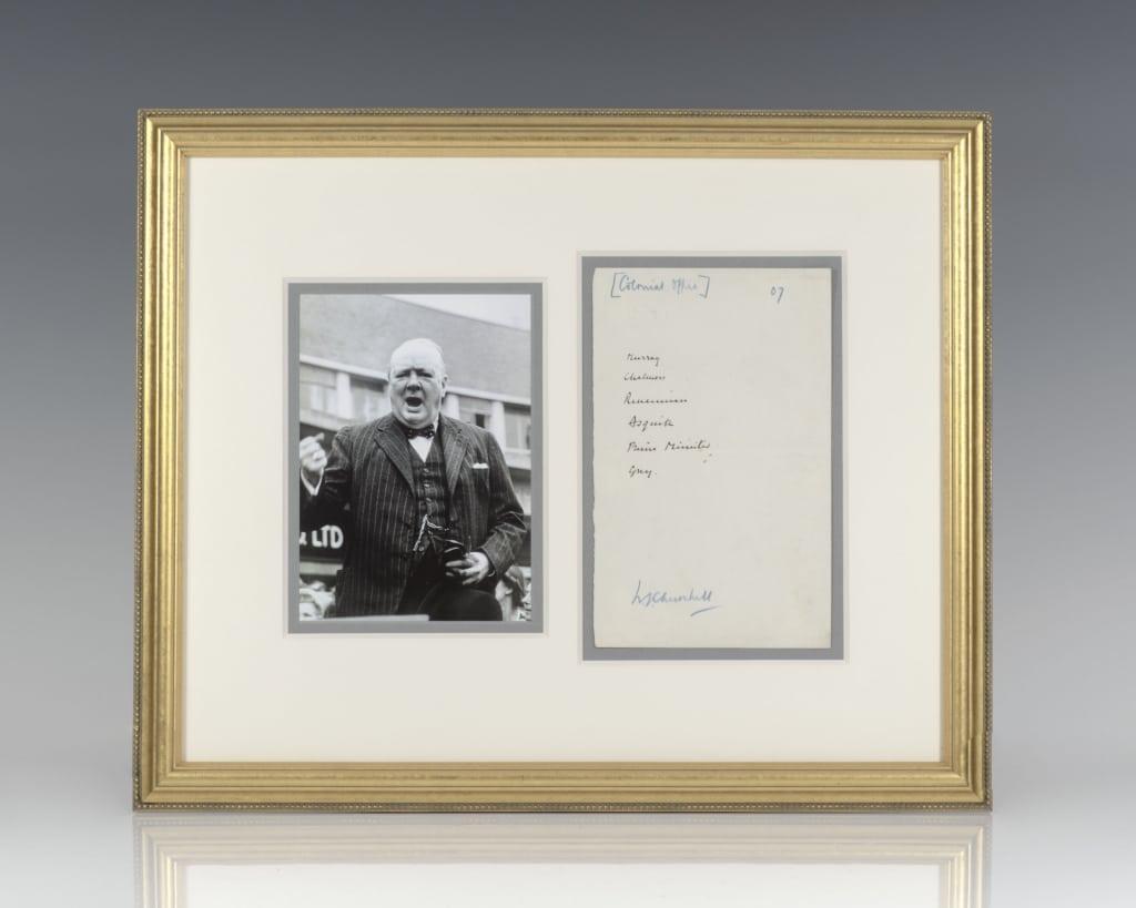 Winston S. Churchill Autograph Note Signed.