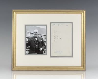 Winston S. Churchill Autograph Note Signed.