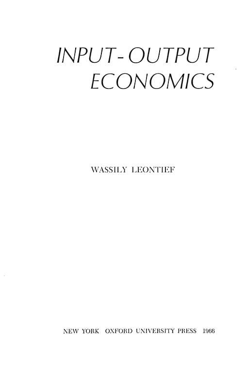 Input-Output Economics.