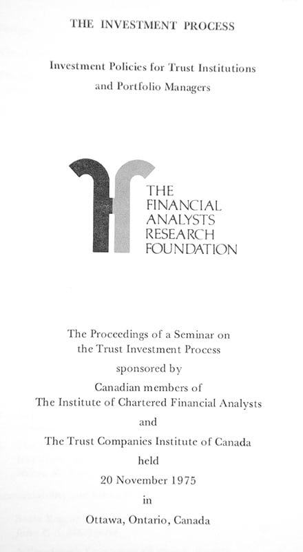 The Investment Process: Investment Policies for Trust Institutions and Portfolio Managers.