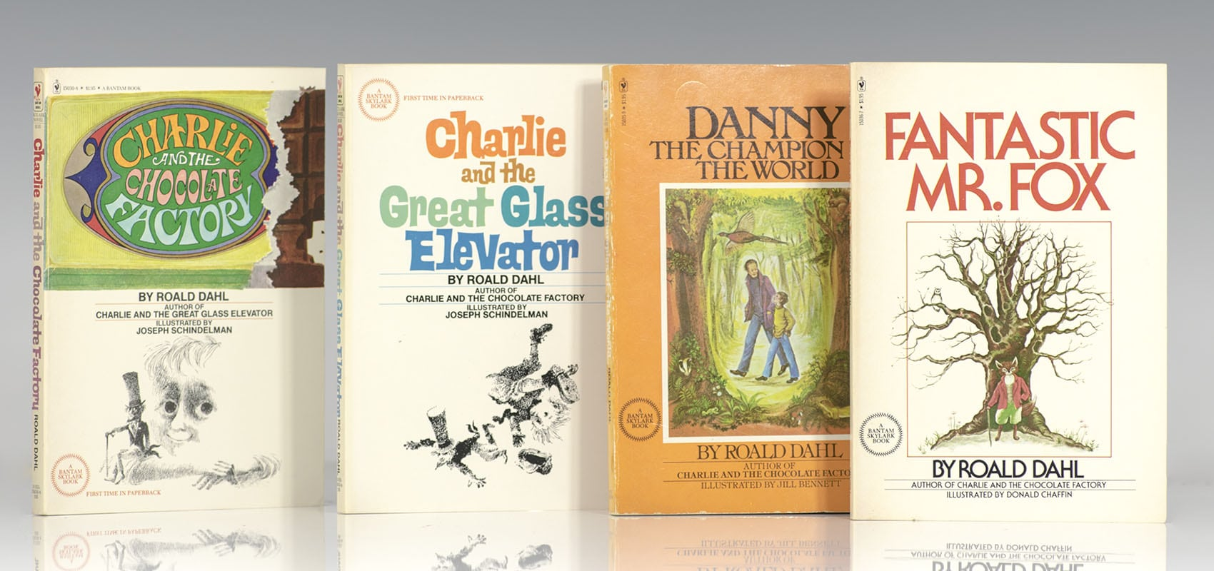 Charlie and the Chocolate Factory Plus Three More All-Time Favorites: Charlie and the Great Glass Elevator, Danny the Champion of the World, and Fantastic Mr. Fox.
