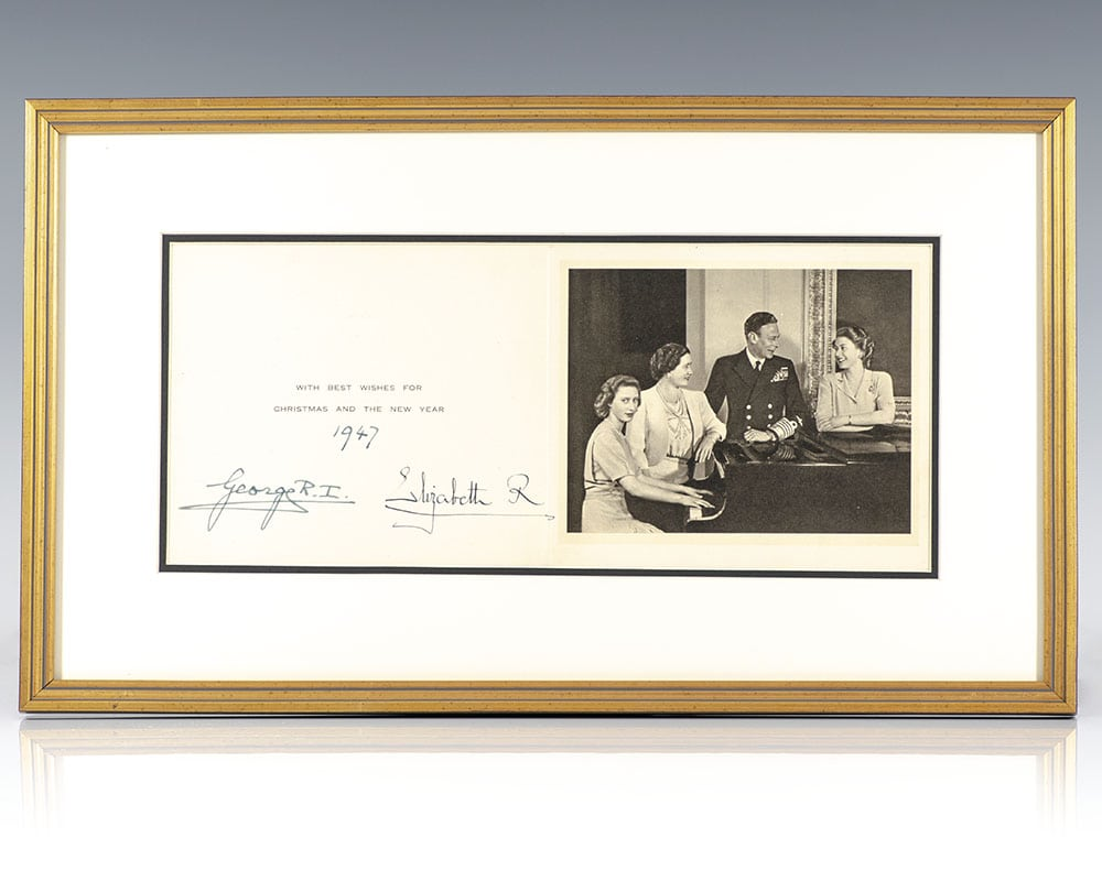 King George VI and Queen Elizabeth II Signed Christmas Card.