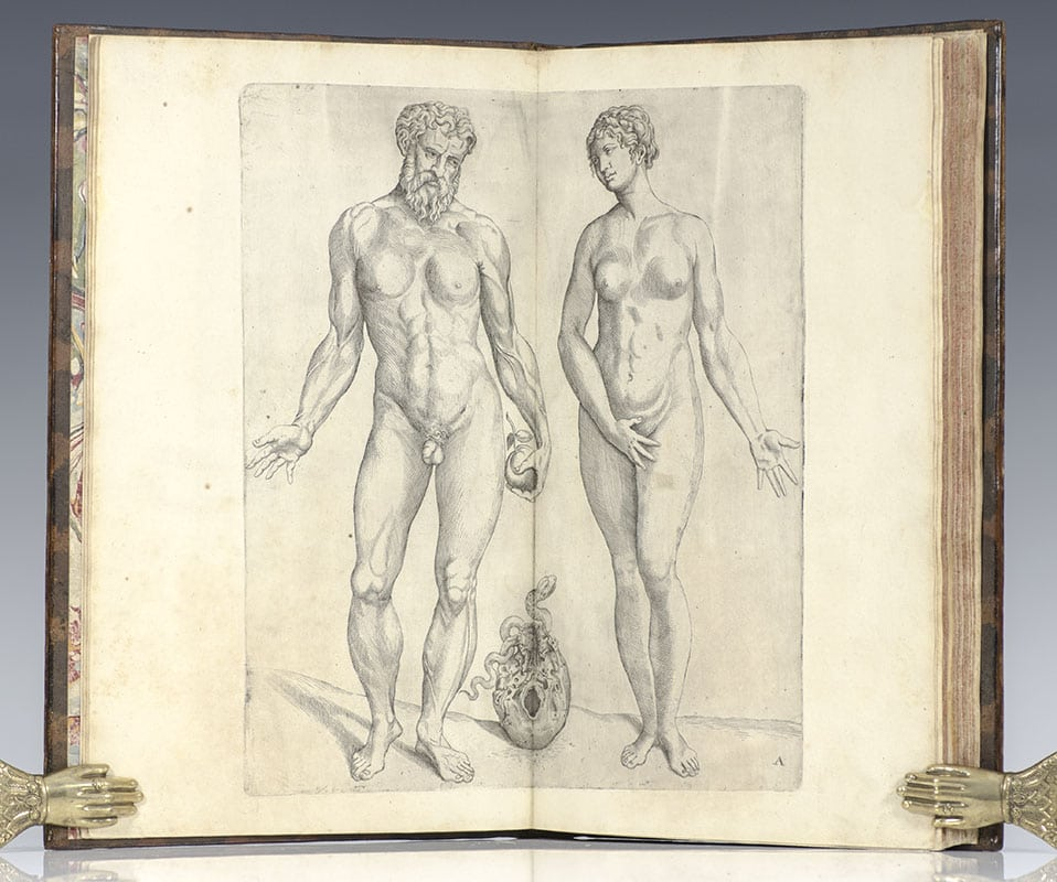 Rare edition of the Epitome of Vesalius, first published in 1543 as an abbreviated dissection room manual to accompany his masterpiece De Humani Corporis Fabrica