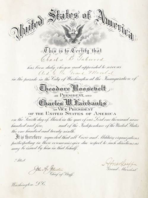 Theodore Roosevelt Inaugural Procession Appointment.