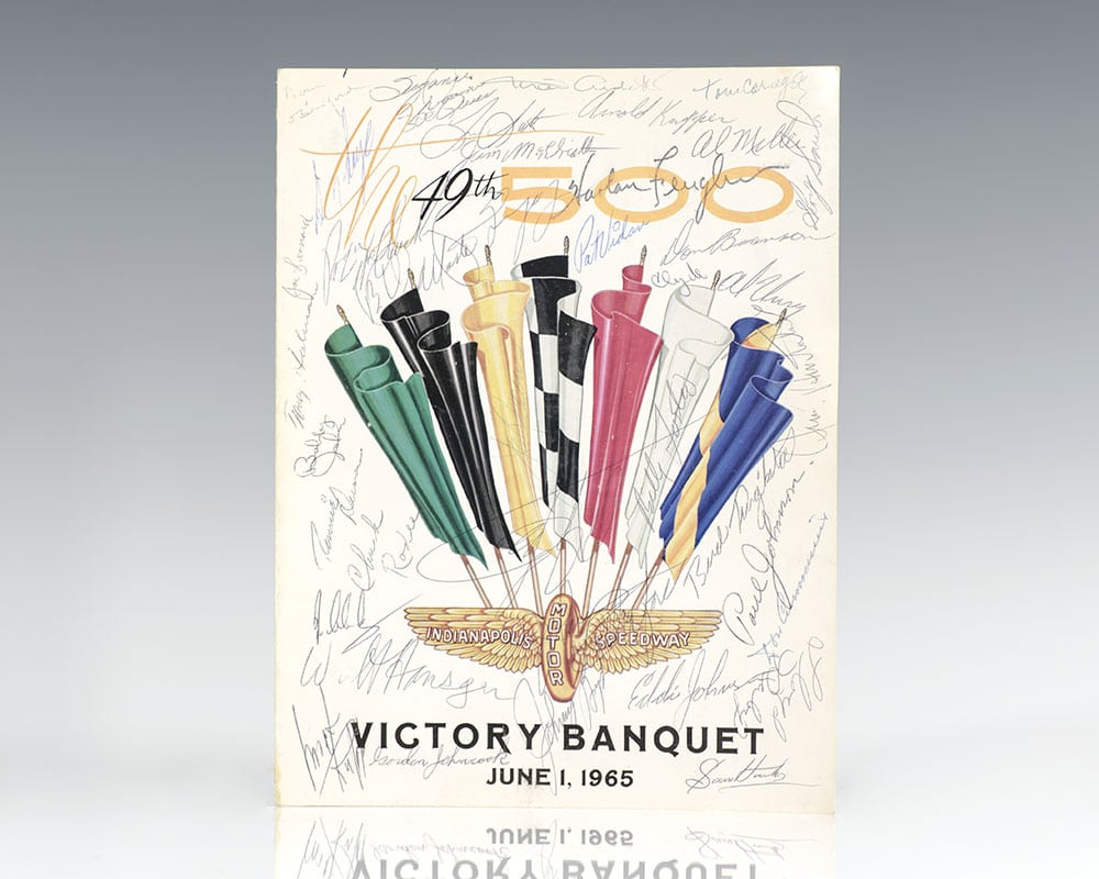 Indianapolis 500 Victory Dinner Menu Signed.