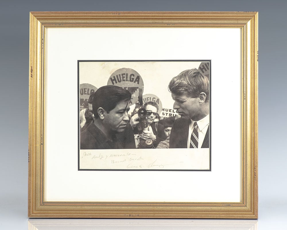 Robert Kennedy and Cesar Chavez Signed Photograph.