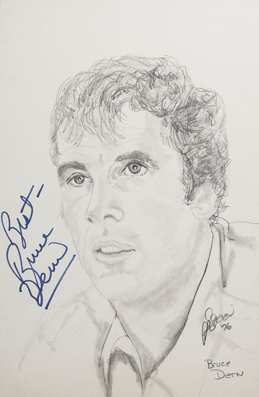 Collection of Hollywood Actors Signed P.B. Socci Sketches.