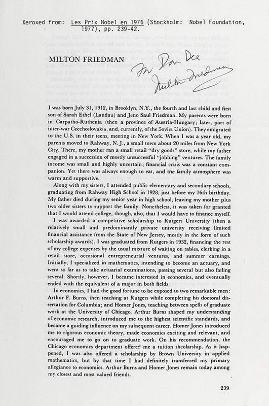 Milton Friedman Signed Nobel Lecture.