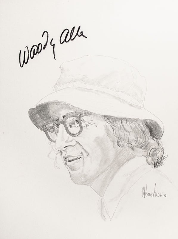 Woody Allen Signed Sketch.