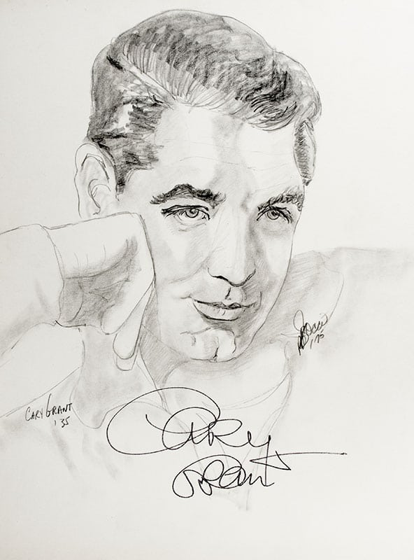 Cary Grant Signed Sketch.