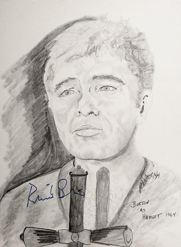 Richard Burton Signed P.B. Socci Sketch.