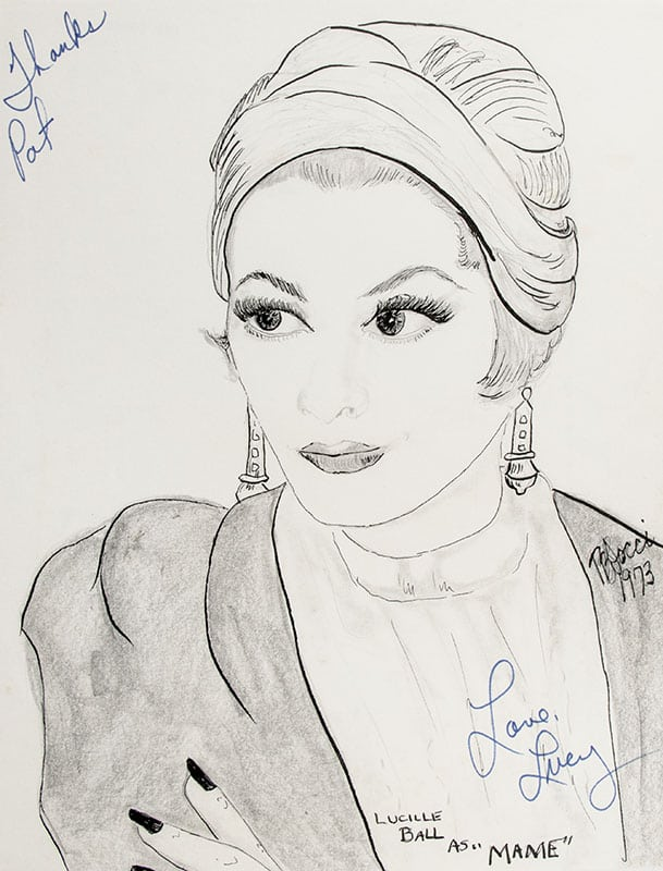 Lucille Ball Signed P.B. Socci Sketch.