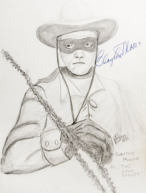 Clayton Moore Signed P.B. Socci Sketch.