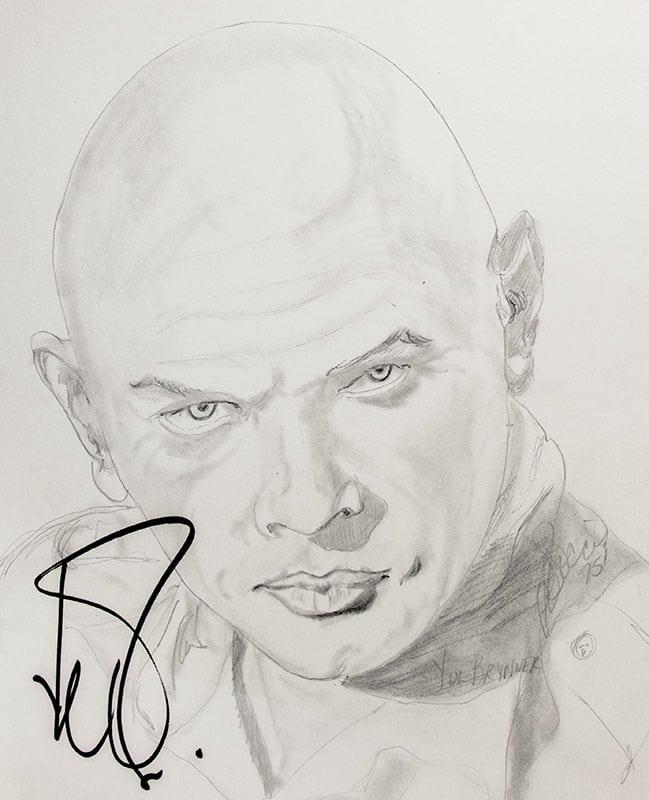 Yul Brynner Signed P.B. Socci Sketch.